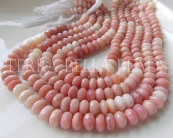 """7"""" strand shaded PINK PERUVIAN OPAL faceted large rondelle gem stone beads 9mm"""