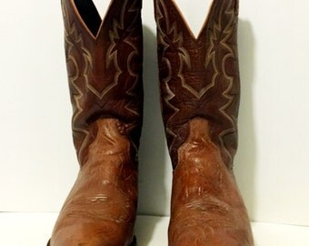 Dan Post Brown Stitched Cowboy or Cowgirl Boots mens size 10D womens size 11 1/2