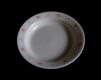 Corelle Forever Yours Soup Bowl Pasta Bowl Flat Rim Beige Pink Hearts (as-is, 2 small chips)