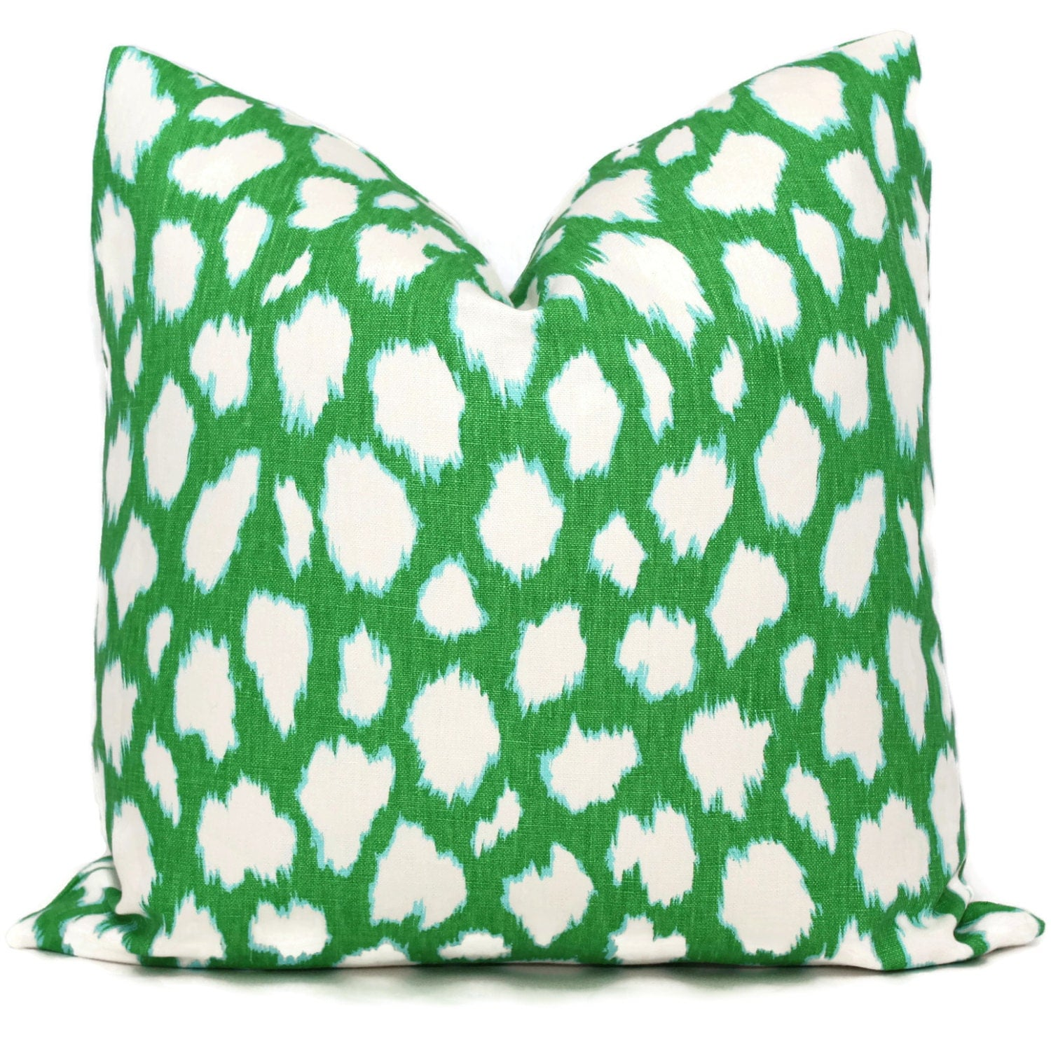 Kelly Green Leocat Pillow Cover As seen in HGTV magazine