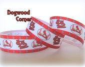 "1 Yard - 7/8"" St. Louis Cardinal Baseball Sports Team Grosgrain Ribbon - Bow Making Supplies - Craft Sewing Supplies."