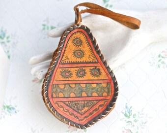 Vintage Leather Coin Purse - Folk Art Pouch