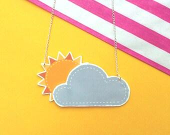 Cute 3D Cloudy Sunshine Necklace