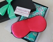 Gift Set: Sweet Flower Mulberry Silk Pillowcase & Silk Eye mask