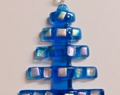 Christmas Tree Fused Glass Ornament with Dichro