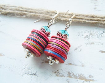 Silver African Record Bead Upcycled Earrings Tribal