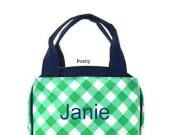 SALE Personalized Kids Mint Gingham Print Lunch box bag Girl monogram