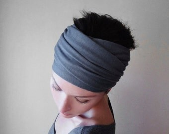 SLATE GREY Head Scarf - Pewter Gray Hair Wrap - Jersey Hair Accessory - Extra Wide Jersey Head Scarves - Yoga Headband