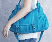 Summer Sale 20% OFF// ASTER  // Teal / Lined with Beige / 014 // Ship in 3 days // Messenger / Diaper bag / Shoulder bag / Tote bag / Purse