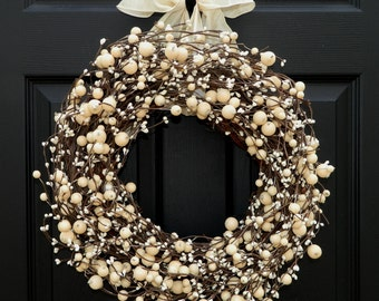 Everyday Wreath -  Berry Wreath - All Season Wreath - Choose Bow and Size