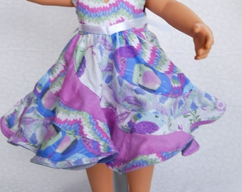 Peppermint Swirl 18 in. Doll Dress in layers of purple
