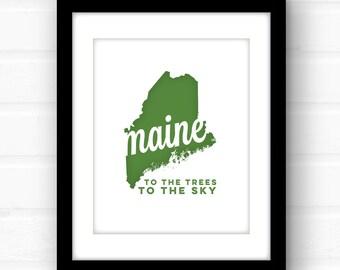 Maine art | Maine print | Maine state wall art | Portland, Maine print | Bar Harbor, Maine art | Augusta, Maine wall art | song lyric art