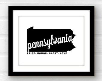 Pennsylvania Art Pennsylvania Wall Art Pennsylvania Print Philadelphia Art Pittsburgh Art
