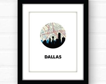 Dallas skyline print   Dallas, Texas decor   Dallas map print   Dallas art   Dallas, Texas wall art   Texas print   city skyline print