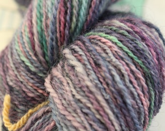 Hand spun and hand painted Icelandic Wool yarn, in green, pink, purple and blue, DK, 100gms