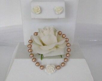 Flower Girl Pearl Bracelet and Earring-Flower Girl Bracelet and Earring Set-Personalized Pearl Flower Girl Bracelet-Flower Girl Jewelry