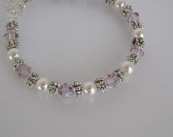 Light Amethyst Flower Girl Bracelet-Junior Bridesmaid Bracelet-Wedding Party Bracelet-Custom Flower Girl Bracelet-Flower Girl Bracelet