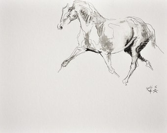 Original Fine Art, Trotting Horse Black Ink Drawing, Equine Art, Contemporary Art, Modern Art