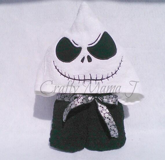 Jack Skellington Inspired Skeleton Large Hooded Bath Towel