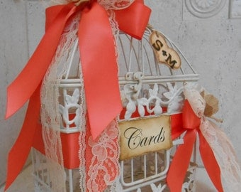Small Birdcage Wedding Card Holder / Coral Wedding Card Holder / Shabby Birdcage Wedding Cardholder / Card Box / Coral Wedding Decorations