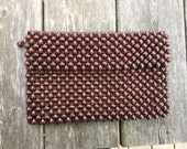 SALE Vintage Hippy Wood Bead Clutch Purse Japan