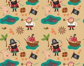 1/2 yard LAMINATED cotton fabric (aka oilcloth coated wipeable fabric) remnant (18 x 40) - Blackbeard Pirate gold EXCLUSIVE