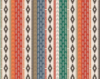LAMINATED cotton fabric by the yard (similar to oilcloth) - Tribal Stripe EXCLUSIVE - Approved for children's products - washable