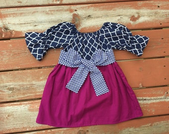 Girls Berry Plum Navy Lattice Peasant Dress with Polka Dot Sash 6 12 18 24 2T 3T 4T 5/6 7/8 9/10 11/12 Sibling Sister Dresses Raspberry Navy