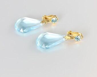 Blue Topaz Briolette Earrings, Rhinestone Lucite Teardrop,  Long Dangle vintage Earrings, Art Deco style