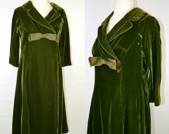 1950s/1960s Mossy Green Velvet, Three Quarter Sleeve Dress by I. Magnin, Christmas, Party, Holiday, Winter