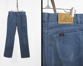 Vintage Lee Blue Corduroy Pants Straight Leg Repaired Cords Made in USA - 30 x 30