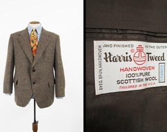 Vintage Harris Tweed Jacket Brown Fleck Wool Sport Coat NOS Made in USA - Size 44