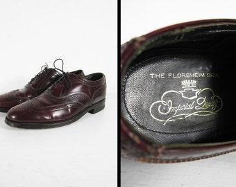 Vintage 60s Florsheim Imperial Wingtips Oxford Shoes Oxblood Leather - Size 8 D