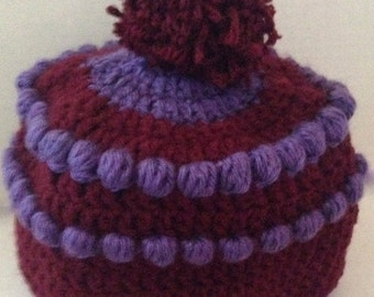 CROCHET GIRLS HAT Toddlers  1-3 years   Puffs and Pompom