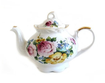 Vintage Arthur Wood and Son Floral Roses Teapot 6629 Made in England