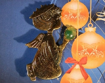 Back from vacation sale - Little Angel Gold Plated Green Aventurine Brooch - Item 743