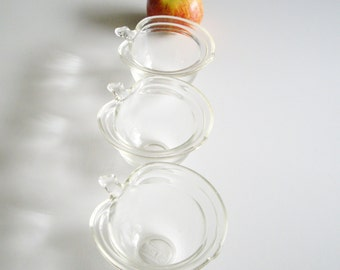 Vintage, Glasbake Apple, Custard Cups, Ramekins, Apple Shaped, Clear Glass, Glass Custard Cups, Baking Cups, Ovenware, Set of 3