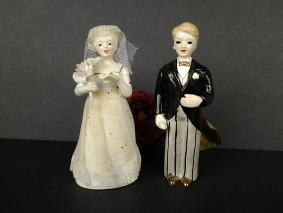 Vintage Wedding Gifts For Bride And Groom : ... wedding decor - wedding figurines - bridal shower gift - vintage