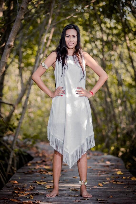 White Dress / Sleeveless White Dress / White Fringe Dress : Nature Touch Collection No.6