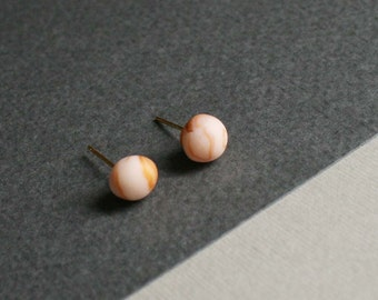 Marbled Earrings Pale pink and Cooper Marble Earrings Marble Studs Minimalist Earrings studs Dainty jewelry Cute small earrings