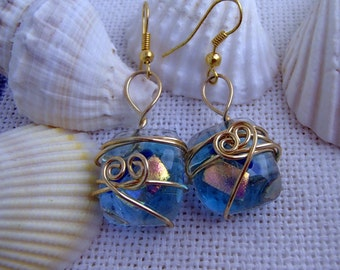 Glass fusion and hand wire wrapped drop earrings
