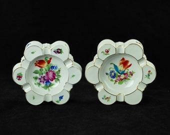 "Antique Pair of Herend Hand Painted ""Printemps Bouquet de Tulipe "" Lobed Trinket Dish Ash Receivers"