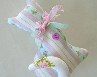 Sweet Little Kitty Pillow / Victorian Cat Pillow / Cat Shaped Pillow / Cat Shelf Sitter / Shabby Chic / Aqua Blue / Pink Roses / Cat Decor