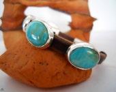 Handmade Bracelet, OOAK, Southwestern Bracelet, Kingman Arizona Blue Turquoise, Brown Leather Bangle, Turquoise Jewelry, Turquoise Bangle