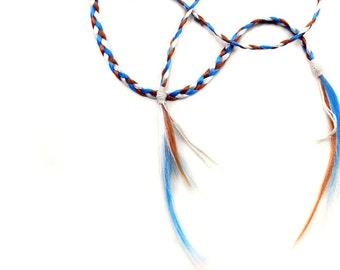 Tribal Hair Headband, long braid hair extension, Boho hairpiece, blue auburn white hair, free spirit, halloween hippie costume, tween girl
