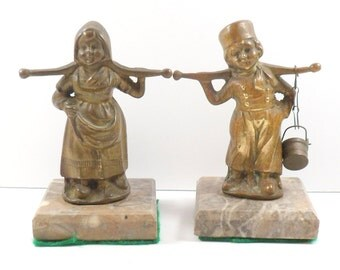 Sale Bronze Figurines Marble Base Belgium Boy Girl Water Beer Carriers YPRES Belgium Souvenirs Vintage 1970s
