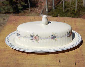 Mikasa Blue Stratford Butter Dish Covered Classic Elegance Rare