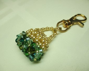 Purse Charm or Zipper Pull in Shades of Green