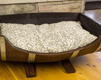 Wine Barrel Dog Bed - Rustic Dog Bed, Large Breed Dog Bed