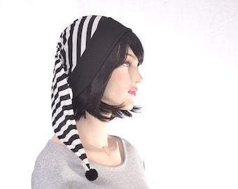 Black White Striped Stocking Cap Sleep Hat Steampunk Night Cap Goth  Adult Men Women Costume Hat Poor Poet Hat Pirate Hat